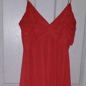 CACHE Deep Coral Asymmetical Evening Dress